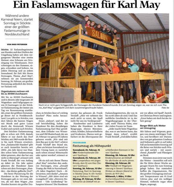 Ein Faslamswagen für Karl May - Landeszeitung Lüneburg